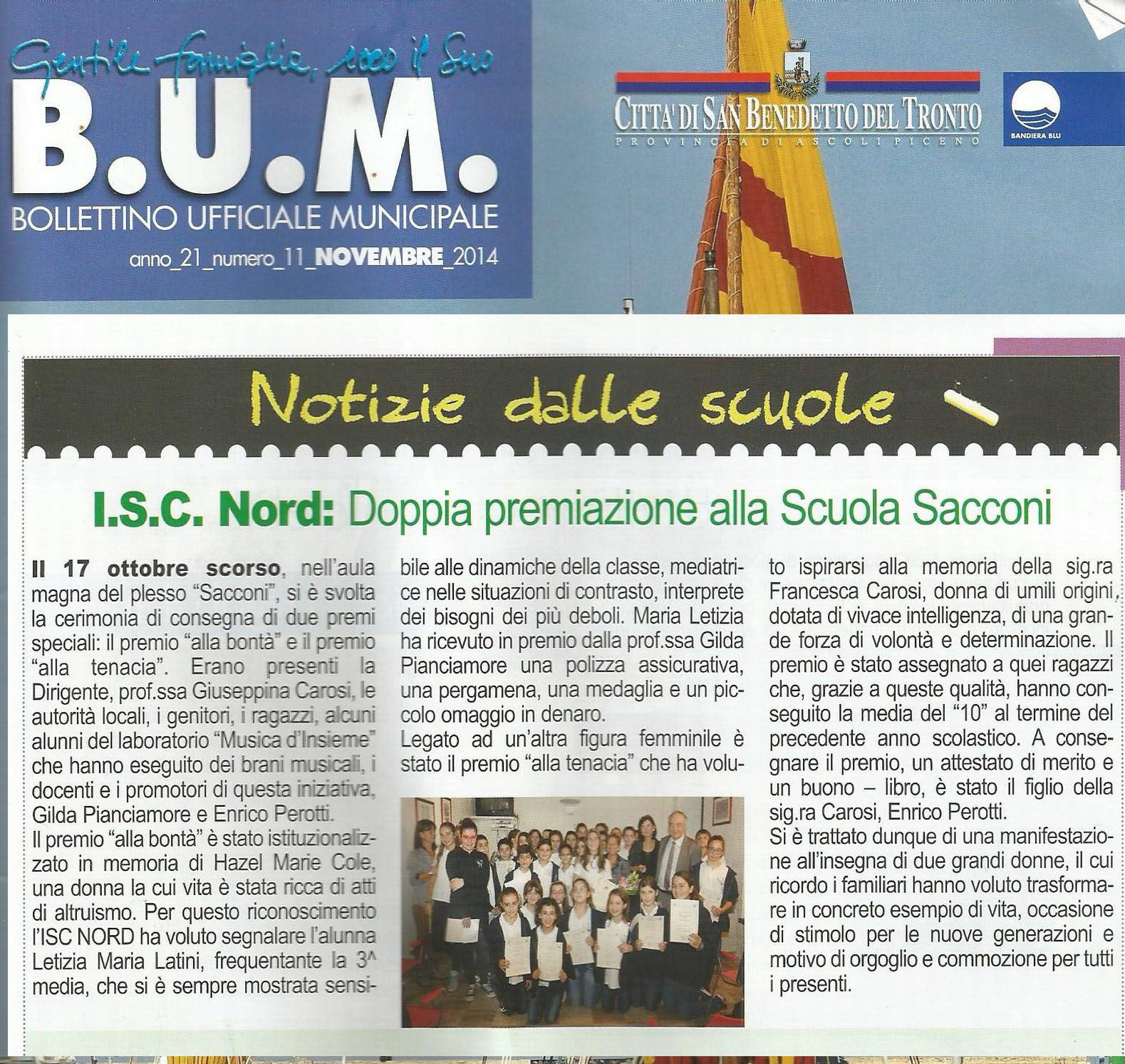 novembre 2014 BUM San Benedetto del Tronto I.S.C. Nord: doppia premiazione alla Scuola Sacconi
