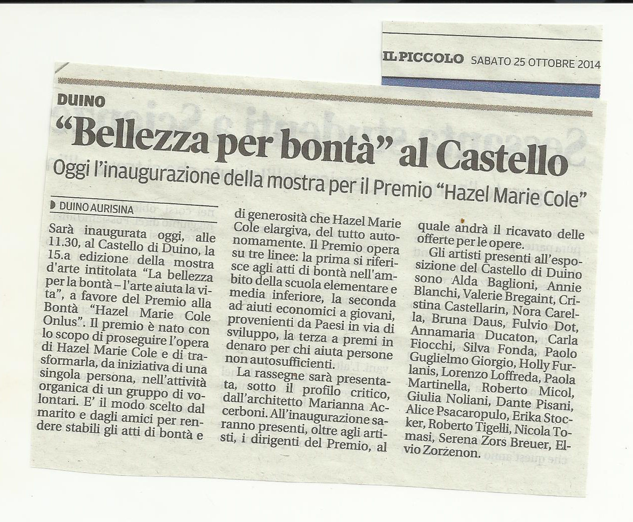 """25 ottobre 2014 Il PIccolo, Trieste Duino """"Bellezza per la bontà"""" al Castello"""