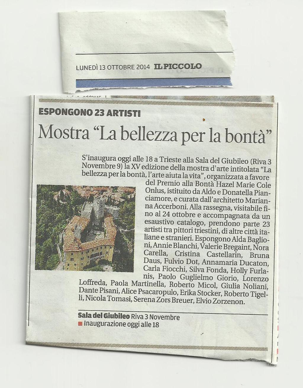"""13 ottobre 2014 Il PIccolo, Trieste Mostra """"La bellezza per la bontà"""""""