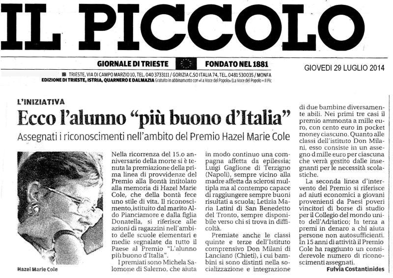 """29 luglio 2014 Il PIccolo, Trieste l'iniziativa """"Ecco l'alunno più buono d'Italia"""
