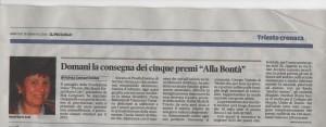 Articolo 3° linea 2015 premiazione Trieste 20/1/ 2016