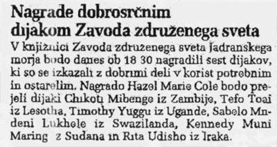 16 ottobre 2002 Primoski dnevnik, Trieste Nagrade dobroscrim dijakom Zavoda zdruzenega sveta