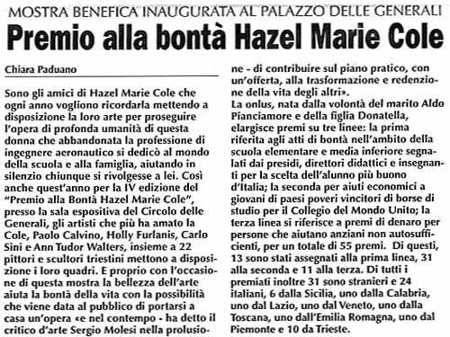 25 novembre 2003 Trieste Oggi, Trieste Premio alla bontà Hazel Marie Cole