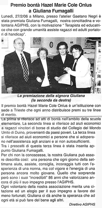 aprile 2006 Notizie AGIPHS Premio alla Bontà Hazel Marie ONLUS a Giuliana Fumagalli