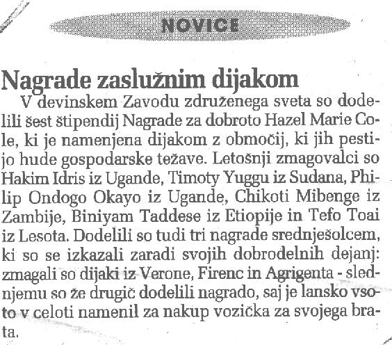 9 nov. 2001 Primorski Premio agli studenti più buoni