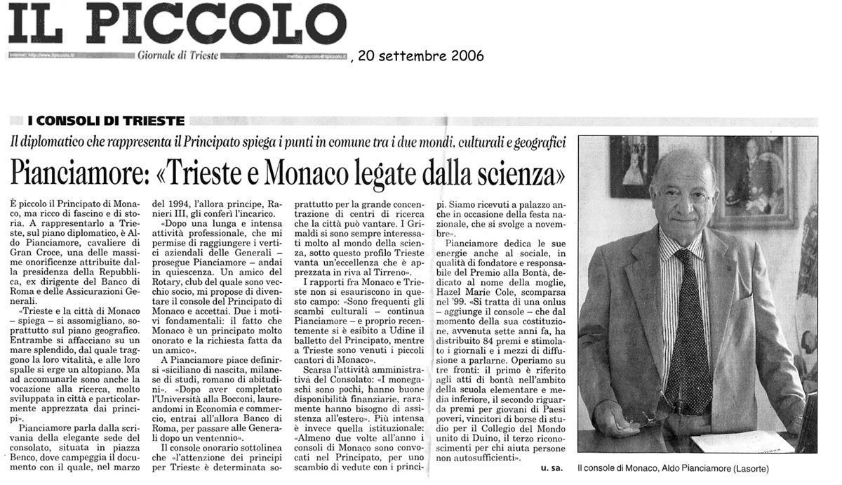 20 settembre 2006 Il Piccolo, Trieste Pianciamore,