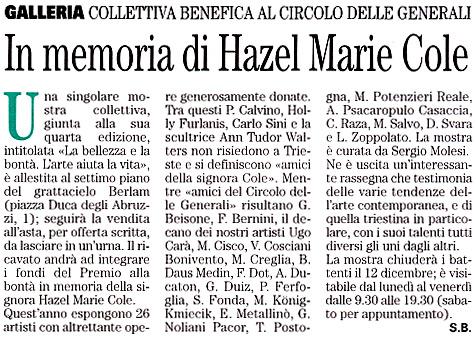 28 novembre 2003 Vita Nuova, Trieste In memoria di Hazel Marie Cole