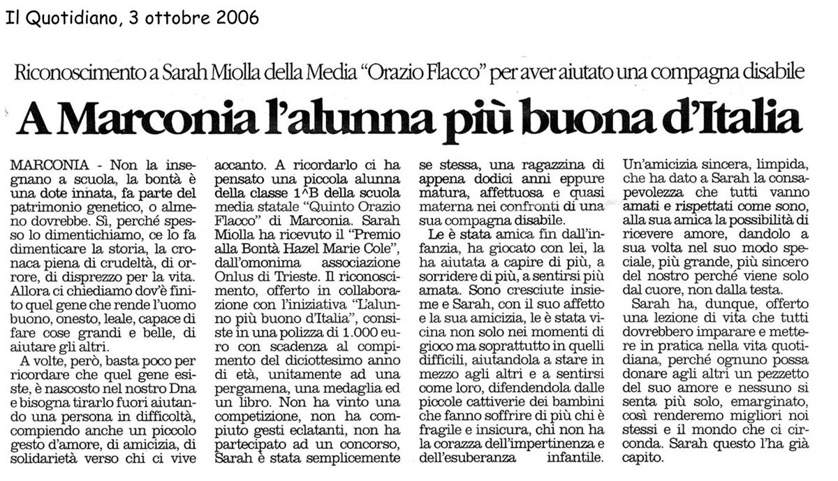 3 ottobre 2006 Il Quotidiano, Materia A Marconia l'alunna più buona d'Italia