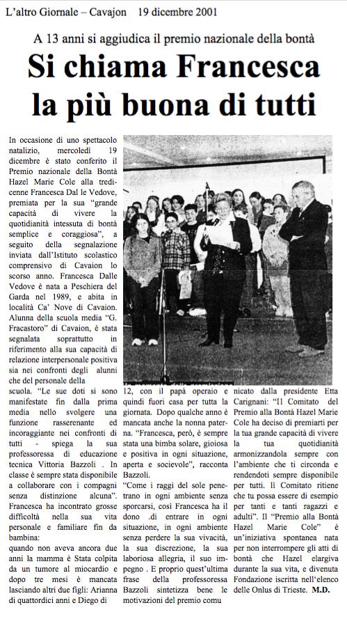 19 dic. 2001 L'Altro Giornale, Cavaion Si chiama Francesca la più buona di tutti