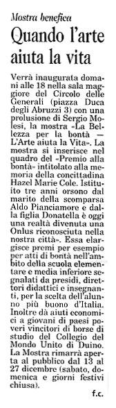 12 dicembre 2002 Il Piccolo, Trieste Quando l'arte aiuta la vita