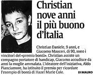 3 dicembre 2003 La Sicilia Cristian nove anni il più buono d'Italia