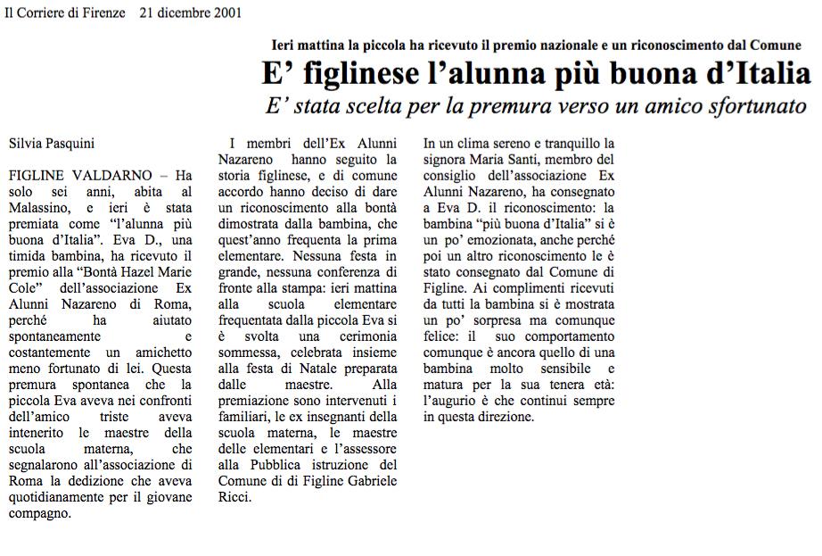 21 dic. 2001 il Corriere di Firenze, Firenze E' figlinese l'alunna più buona d'Italia