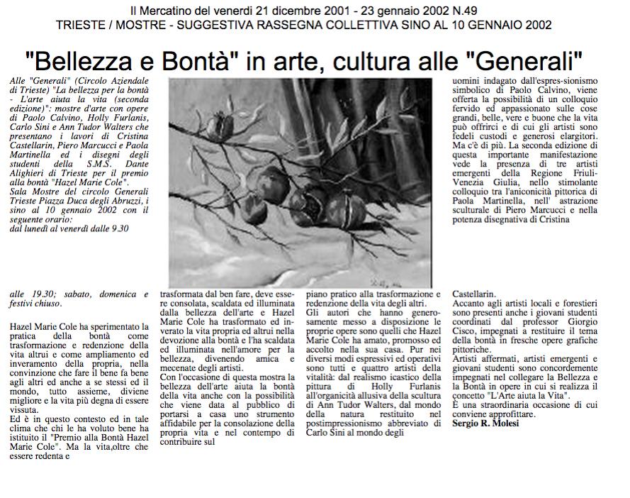"""dicembre 2001 Il Mercatino del venerdì, Trieste """"Bellezza e Bontà"""" in arte, cultura alle """"Generali"""""""
