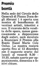 7 dicembre 2003 Il Piccolo, Trieste Premio bontà