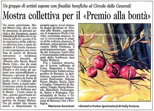 """27 dicembre 2003 Il Piccolo, Trieste Mostra collettiva per il """"Premio alla bontà"""""""
