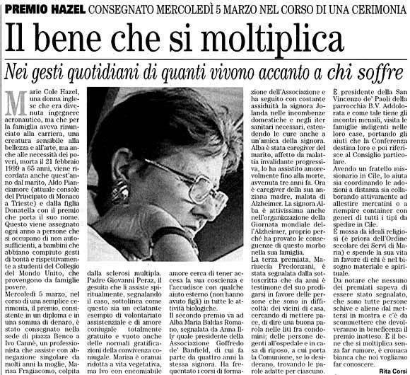 7 marzo 2003 Vita Nuova, Trieste Il bene che si moltiplica