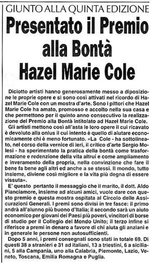 14 dicembre 2004 Trieste Oggi, Trieste Presentato il Premio alla Bontà Hazel Marie Cole