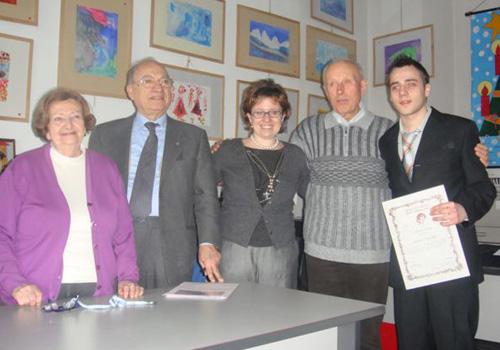 Milano, 25 febbraio 2009: Andrea Pancallo e Nando Pizzelli premiati a Milano presso l'Associazione Gaetano Negri.