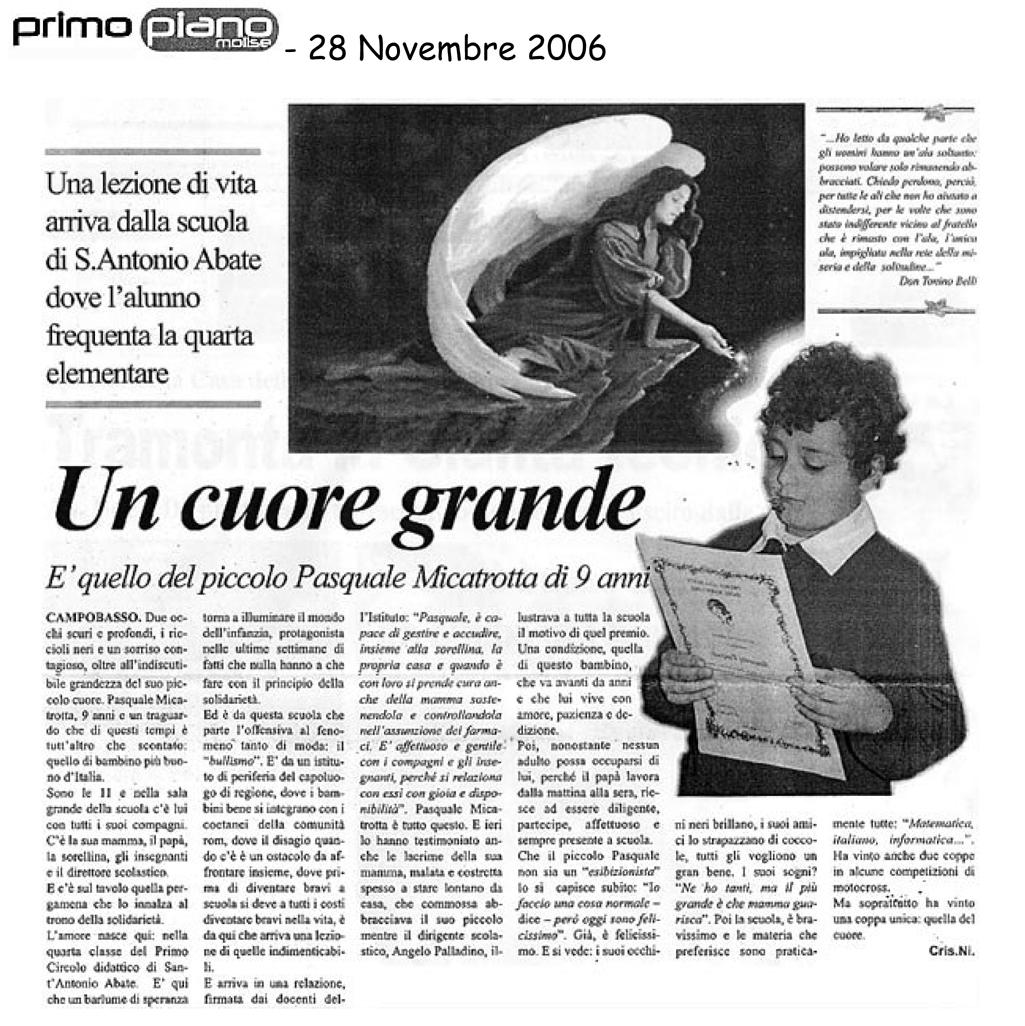 28 novembre 2006 Primo Piano Molise Un cuore grande