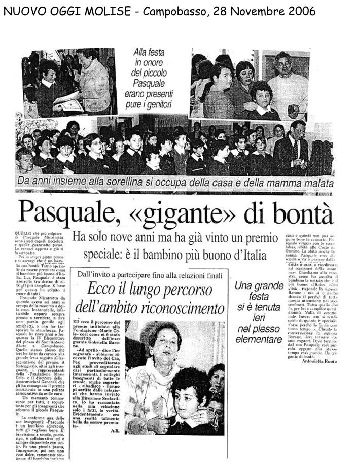 28 novembre 2006 Nuovo Oggi Molise Pasquale,