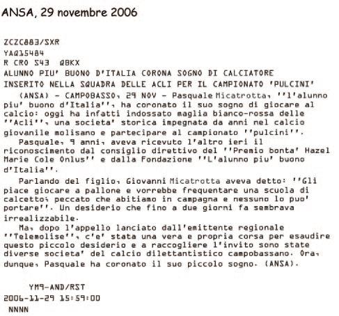 29 novembre 2006 ANSA Alunno più buono d'Italia corona sogno di calciatore
