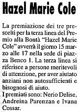 12 marzo 2004 Il Mercatino, Trieste Hazel Marie Cole