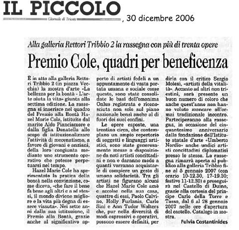 30 dicembre 2006 Il Piccolo, Trieste Premio Cole, quadri per beneficenza