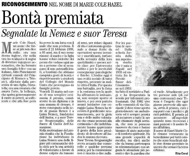 23 marzo 2002 Vita Nuova, Trieste Bontà premiata