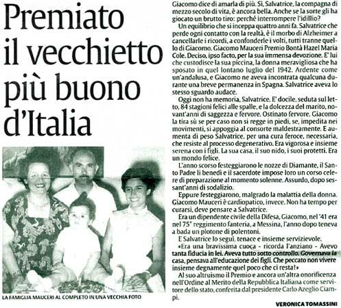 11 settembre 2003 La Sicilia Premiato il vecchietto più buono d'Italia