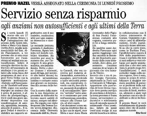 12 marzo 2004 Vita Nuova, Trieste Servizio senza risparmio