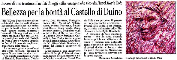 6 gennaio 2006 Il Piccolo, Trieste Bellezza per la Bontà al Castello di Duino