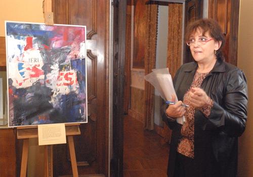 Duino, 15 dicembre 2007 - L'arch.Accerboni presenta il quadro dell'ospite d'onore Georges Wenger. (Foto Micol)