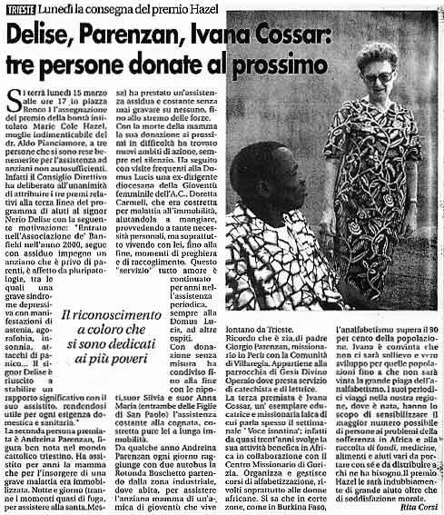 13 marzo 2004 Voce Isontina, Gorizia Delise, Parenzan,Ivana Cossar: tre persone donate al prossimo