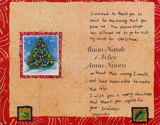 Biglietto di auguri di Buon Natale di uno dei vincitori - Trieste, 18 dicembre 2002