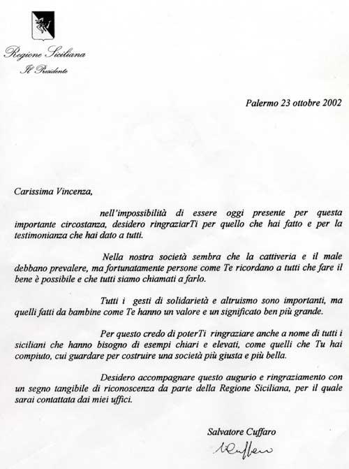 Lettera del Presidente della Regione Sicilia alla vincitrice.