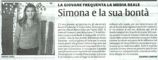 3 dicembre 2005 La Sicilia, Agrigento Simona e la sua bontà