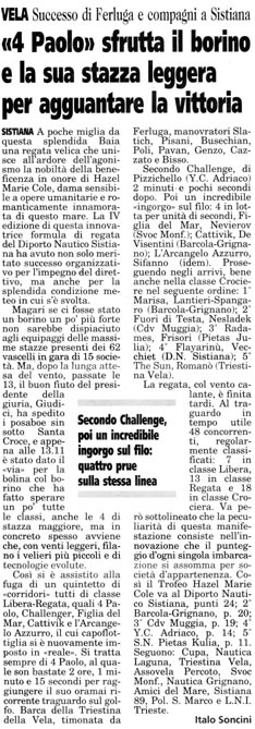 """18 settembre 2002 Il Piccolo, Trieste """"4 Paolo"""" sfrutta il borino e la sua stazza leggera per agguantare la vittoria"""