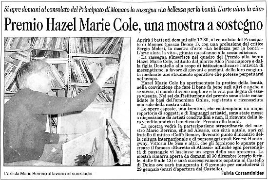 8 dicembre 2005 Il Piccolo, Trieste Premio Hazel Marie Cole, una mostra a sostegno