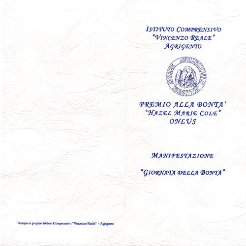 """L'invito per la cerimonia d ipremiazione preparato  dall'istituto Comprensivo """"Vincenzo Reale"""" di Agrigento"""