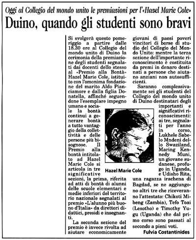 16 ottobre 2002 Il Piccolo, Trieste Duino, quando gli studenti sono bravi