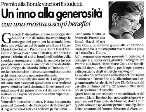16 dicembre 2005 Vita Nuova, Trieste Un inno alla generosità