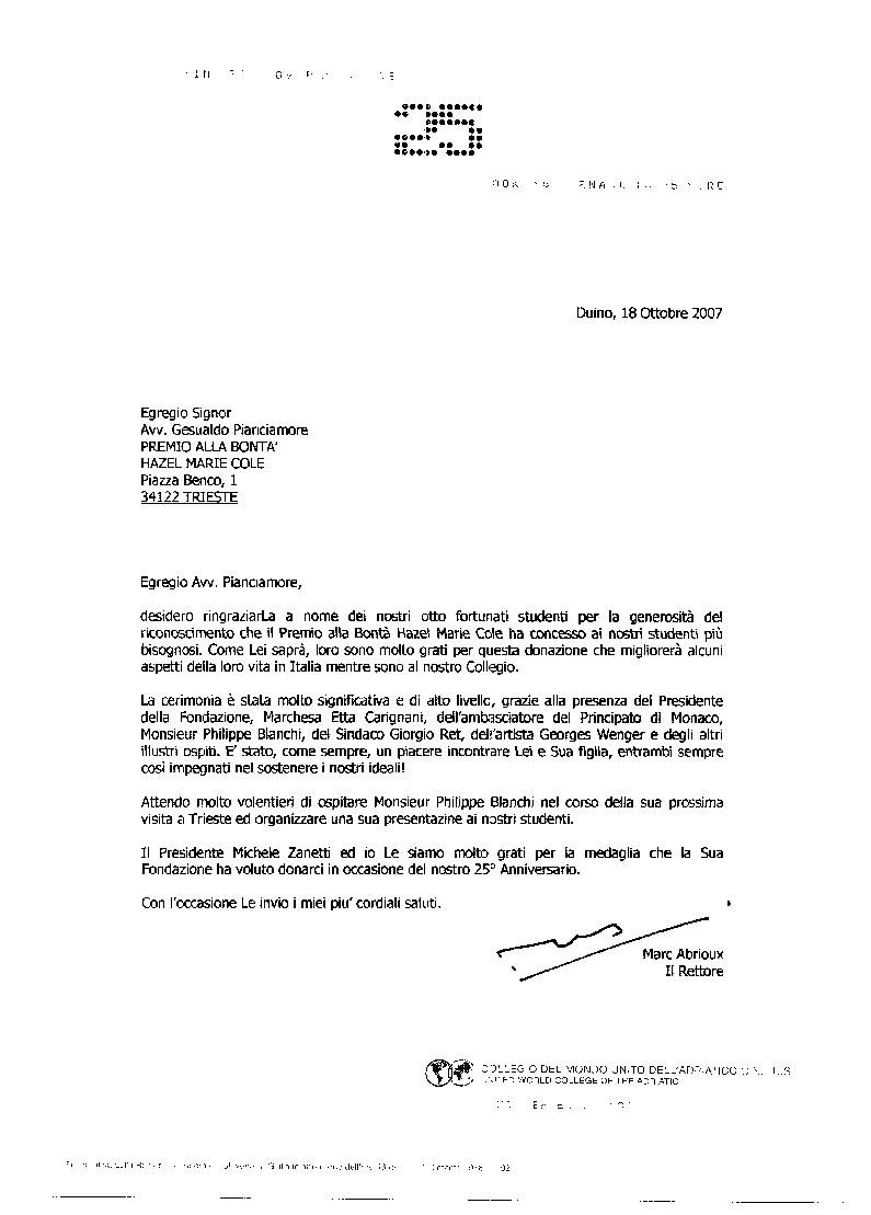 Lettera di ringraziamento del Rettore del Collegio del Mondo Unito di Duino Mark Abrioux